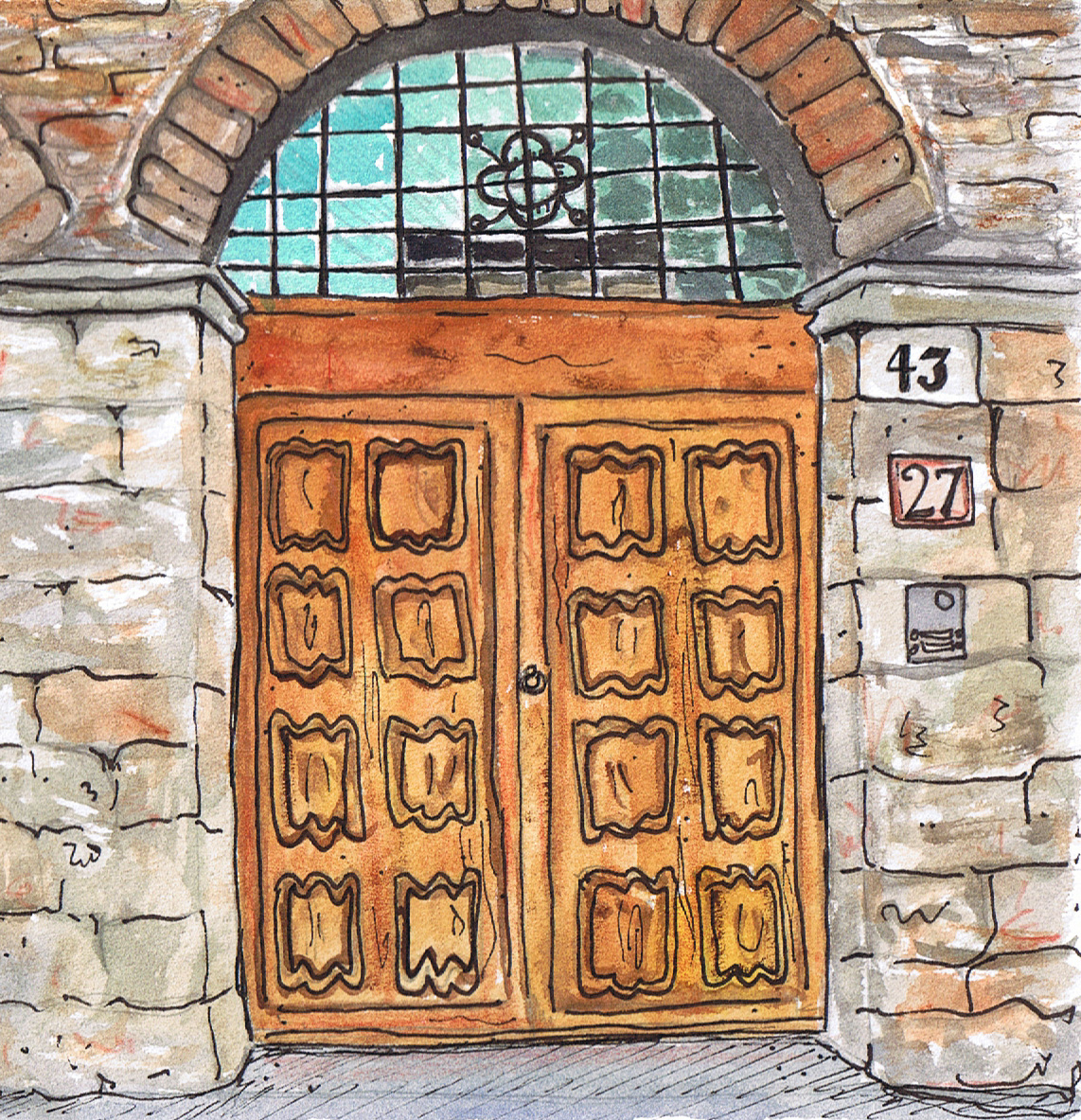 This painting is the same size as the one above and is a drawing of an Italian door. I saw many doors like this when I lived in Florence and traveled around ...  sc 1 st  Hands in the Dirt Head in the Clouds - WordPress.com : door paintings - Pezcame.Com